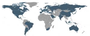 Figura - G20 rappresentato sul planisfero.
